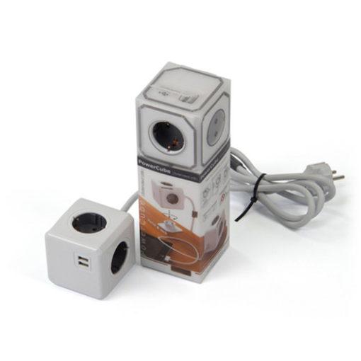 Ladrón con alargo PowerCube + 2 usb gris - PowerCube - Complementos - Ensueños, tiendas de descanso