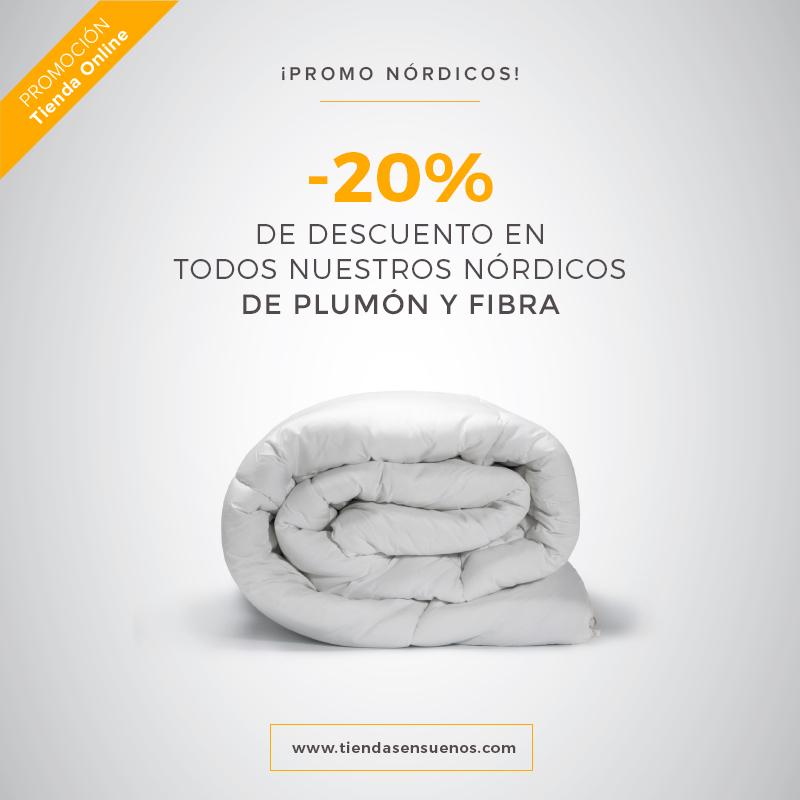 Promoción en la tienda online de Ensueños, 20% descuento en nórdicos