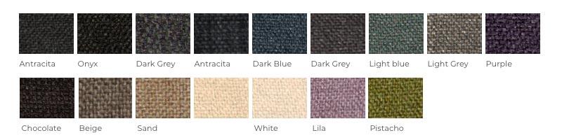 Gama de tejidos disponible para la personalización de la Cama Versus