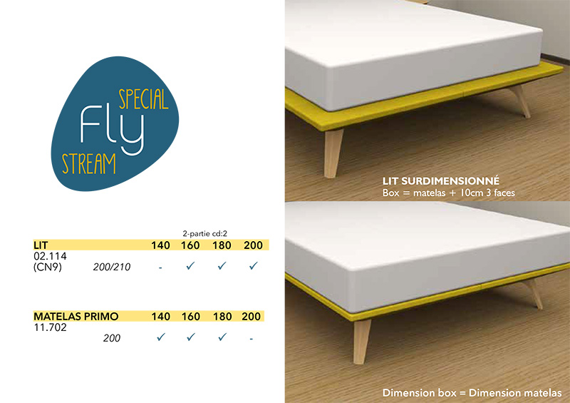 Distintos tamaños de la cama Fly en oferta