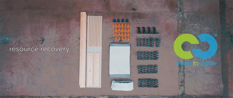 Imagen de todos los materiales que componen la cama Velda siguiendo la filosofía Cradle to Cradle para un descanso sostenible