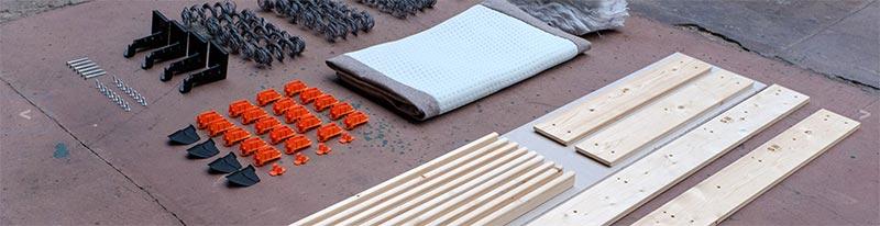 Los materiales descompuestos de una cama Velda que se pueden reutilizar o reciclar al final de su primera vida útil para seguir procurando un descanso sostenible