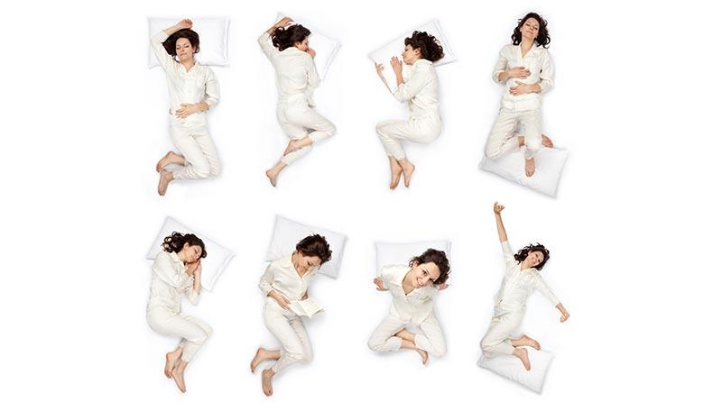 Cambio de posturas corporales en la cama durante la noche sin el set Physio