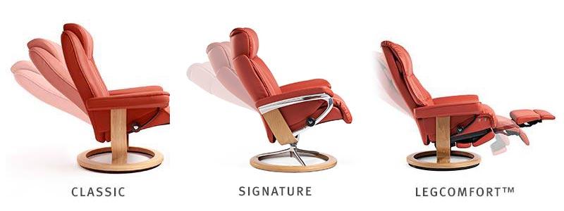 Los tres modelos de base de sillones en promoción Stressless