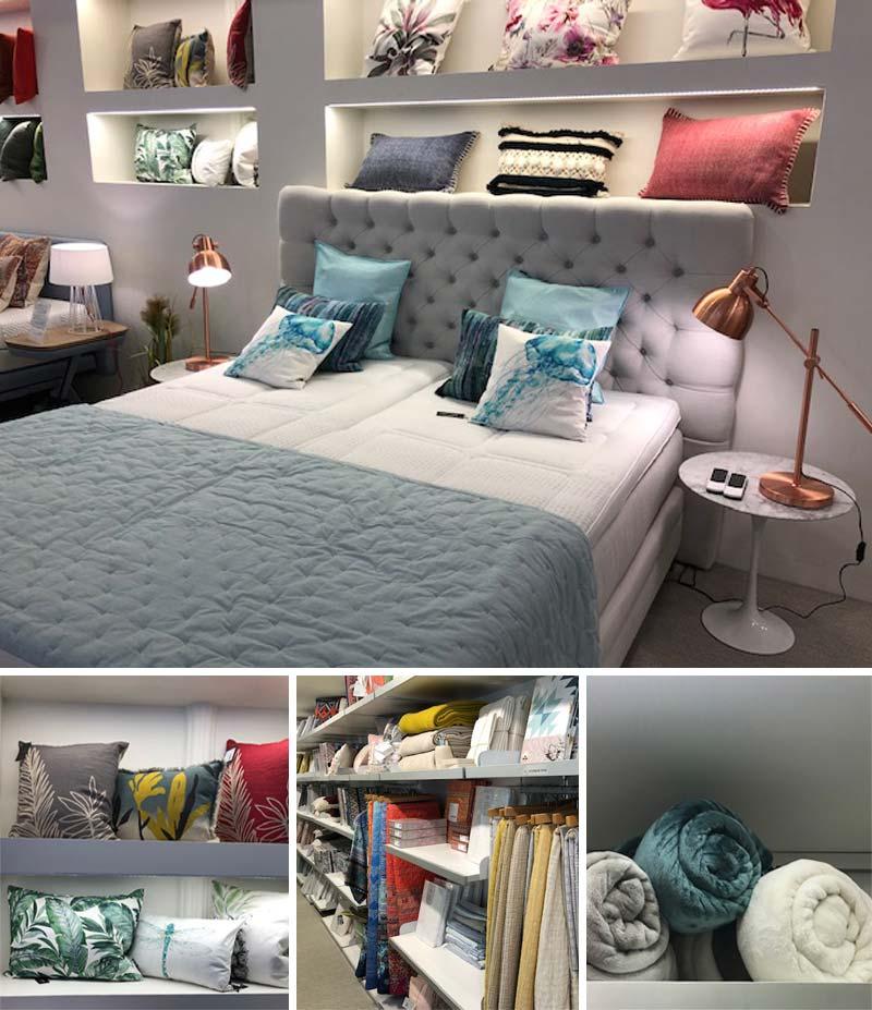 Tiendas Ensueños Interior de la tienda: colchones, ropa de cama, almohadas...