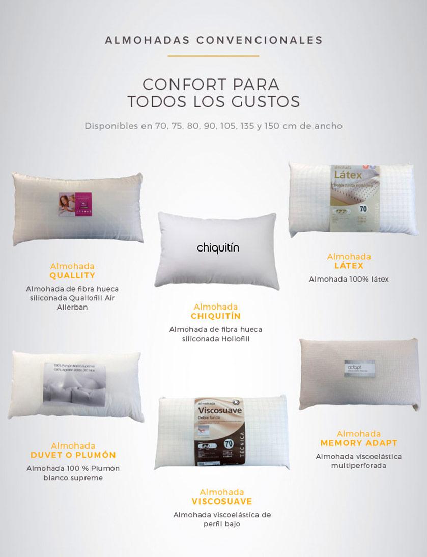 Almohadas convencionales disponible en la web y tiendas de Ensueños